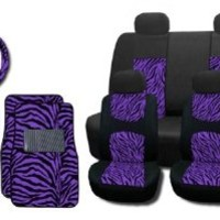 New and Exclusive Mesh Animal Print Interior Set Purple Zebra 15pc Seat Covers Front & Back Lowback, Back Bench, Steering Wheel & Seat Belt Covers - Floor Mats - Padded Mesh