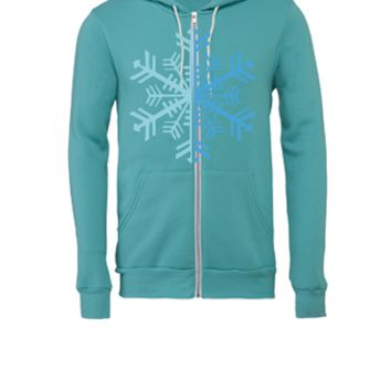 2 Color Winter Snowflake - Unisex Full-Zip Hooded Sweatshirt