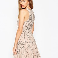 ASOS Pretty Skater Dress With Metal Embellishment