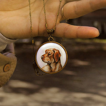 Animal Necklace Pendant Dog Portrait bronze watercolor original hand painting, for dogs lovers, vintage style jewelry, labrador Retriever