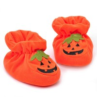 Baby Boys Girls Shoes Cute Pumpkin Baby Boy Crib shoes Infant Winter Warm Cotton Toddler Sneakers Newborn Halloween Present Gift