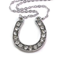 Horseshoe Horse Shoe Pendant Necklace Lucky Western Cowgirl Charm Tone Ladies Women Fashion Jewelry