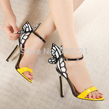2017 new women shoes pumps wedding high heels colorful butterfly heeled sandals pumps bow party shoes woman free shipping