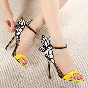 2015 new women shoes pumps wedding high heels colorful butterfly heeled sandals pumps bow party shoes woman free shipping