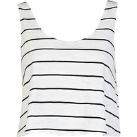 Black and white stripe cropped boxy tank - t-shirts / tanks / sweats - sale - women