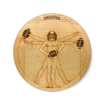 Leonardo Vitruvian Man As American Football Player Classic Round Sticker
