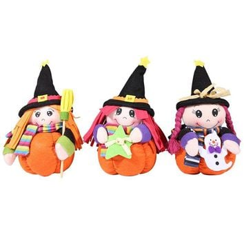 24CM Halloween Witch Doll with Pumpkin Stand Hat for Festival Home Party Window Ornament Children Cute Soft Plush&Stuffed Toy