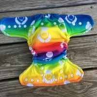 OS Hybrid fitted diaper, babywearing diaper, cloth diaper, rainbow diaper, fitted diaper, organic cloth diaper