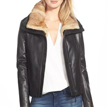 Women's Soia & Kyo Lambskin Leather Jacket with Detachable Genuine Rabbit Fur Collar,