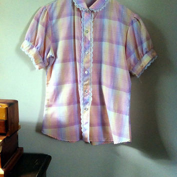 Pastel Plaid Blouse by JezzyBelles on Etsy