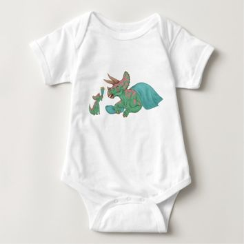 Triceratops Giving Flowers Baby Bodysuit