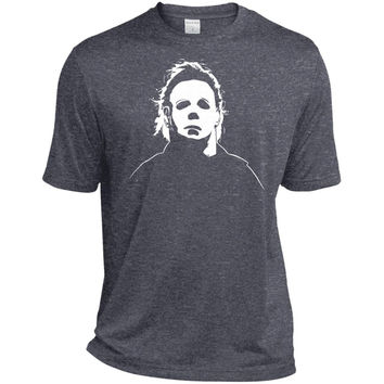 Jacted Up Tees Michael Myers Halloween Movie Mask Men's T-Shirt SHIPS FROM OHIO USA-01  TST360 Sport-Tek Tall Heather Dri-Fit Moisture-Wicking T-Shirt
