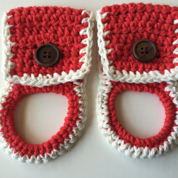 Towel Holder Crocheted (Set of 2) Red - White - Wooden Button - Kitchen