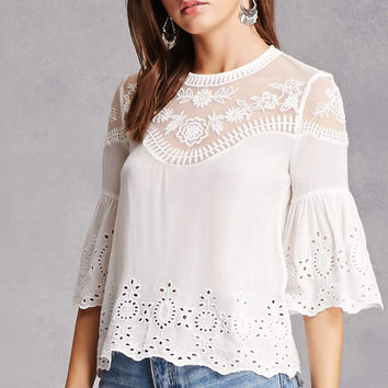 Lace Eyelet Ruffle Top