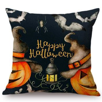 Watercolor Halloween Decoration Pumpkin Face Spider Hand Painted Cushion Cover Cartoon Letter Print Halloween Throw Pillow Case