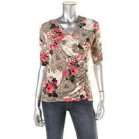 Style & Co. Womens Petites Matte Jersey Faux Wrap Pullover Top