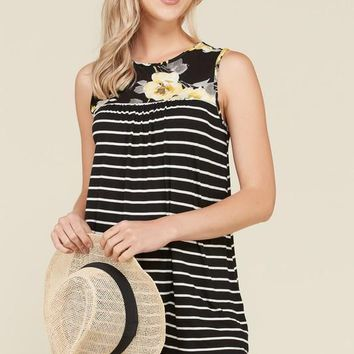 (pre-order) Yellow Floral Striped Contrast Top