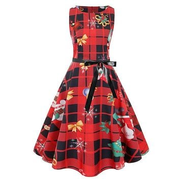 Retro Christmas Sleeveless Plaid Belt Dress