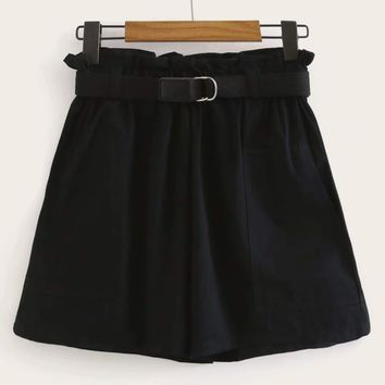 Frill Waist Belted Cargo Shorts