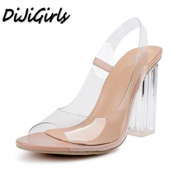 DiJiGirls women Sexy Open toe sandals ladies Gladiator thick high heels shoes woman Crystal Clear Transparent ankle strap shoes