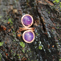 Nature Inspired Copper Ear Cuff with Amethyst Gemstones Unisex Tribal BOHO Earthy Hypoallergenic Women Gift, Copper Jewelry, Purple Ear Cuff