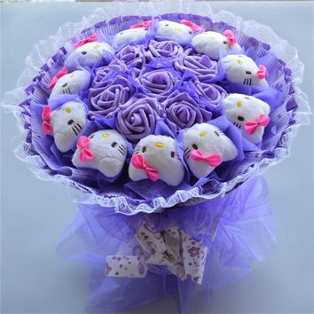 Fashion Creative Cartoon Bouquet Hello Kitty Stuffed Animal Plush Cat Toys Simulation Flower Bouquet Bride Holding Flower