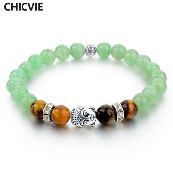 CHICVIE Buddha Bracelets For Women Tibetan Silver Chain & Link Bracelets & Bangles Vintgae India Natural Stone Bead Love Jewelry
