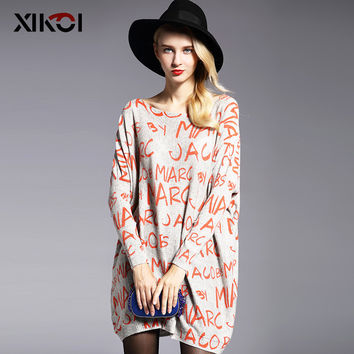 New 2016 Autumn Casual Long Women Sweater Coat Batwing Sleeve Print Women's Sweaters Clothes Pullovers Fashion Pullover Clothing