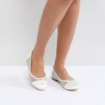 ASOS LIGHT SHOW Bridal Crystal Ballet Flats at asos.com