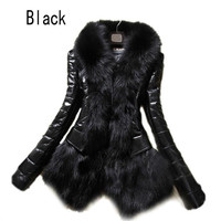 2016 Hot Luxury Women's Faux Fur Coat Leather Outerwear Snowsuit Long Sleeve Jacket Black Fashion Free Shipping