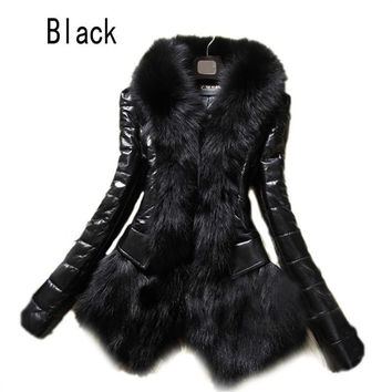 2017 Hot Luxury Women's Faux Fur Coat Leather Outerwear Snowsuit Long Sleeve Jacket Black Fashion Free Shipping