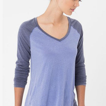 """Z Supply """"The V-Neck Baseball Tee""""- Blue Suede/ Crown Blue"""