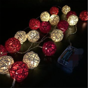 3M length 20pcs Ivory White Red Handmade Rattan Balls String Lights Fairy Party Home Wedding Patio Decor battery Powered