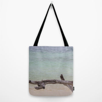 Ocean Beach Bag, Blue Summer Tote, Driftwood