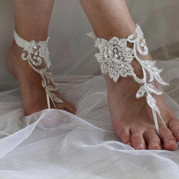 wedding shoes, summer shoes,bridal accessories, ivory lace, wedding sandals,  shoes,free shipping!Anklet bridal sandals,bridesmaids,