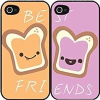 Peanut Butter and Jelly bff Set of 2 Best Friend Plastic Phone Case Back Covers iPhone 5c includes BleuReign(TM) Cloth and Warranty Label