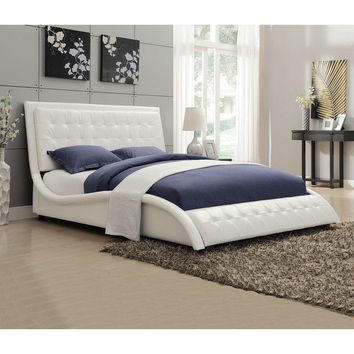 Queen size White Faux Leather Upholstered Bed with Button Tufted Headboard