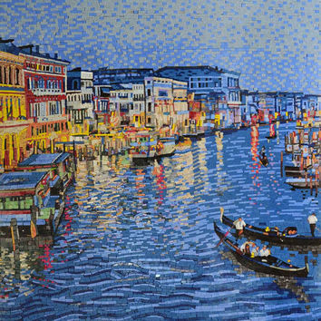 Italian Charming Venice at Night Micro Mosaic Art Tile Wall Mural. MS494A