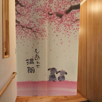 Romantic Blossom Cherry Sakura and Little Dog Japanese Noren Doorway Curtain 85X150cm Decorative Door Curtain Free Shipping