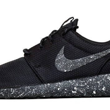 Nike Roshe One - Triple Black + Pearl White Paint Splatter 043750c81f