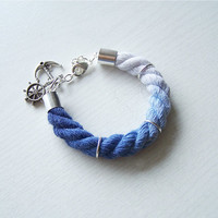 Rope Bracelet, Ombre Bracelet, Nautical Anchor Bracelet, Dip-dyed Cotton bracelet
