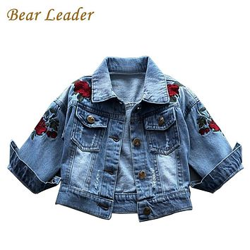 Bear Leader Girls Jacket 2017 New Autumn&Winter Denim Jacket Rose Flower Embroidery Vintage Jeans Jackets for Girl Toddler Baby