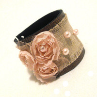 Shabby chic leather bracelet with lace flowers by julishland