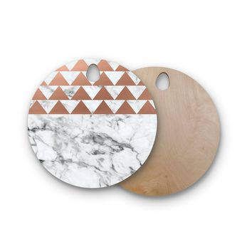 "KESS Original ""Marble & Metal"" White Copper Round Wooden Cutting Board"
