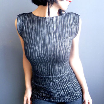 Womens Handmade Top - iheartfink, Metallic Silver Print, Reversible Top, Womens Fashion, Black Fitted Blouse, Sleeveless Top, Holiday Style