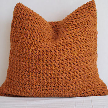 Crochet Pillow Cover - Rust Orange - 20 x 20