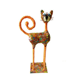 Art Animal Sculpture,Metal Cat Sculpture,Handmade, Polymer Clay, made in Israel, orange. Cat figures
