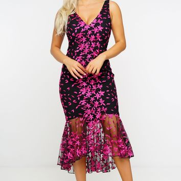 Kammy Dress - Black/Fuschia