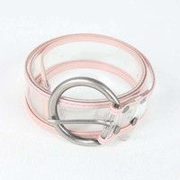 Round Buckle Color Trimmed Clear Belt