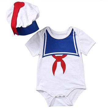 Baby sailor costume anchor romper navy costumes for infants toddler white cotton Short sleeve jumpsuit